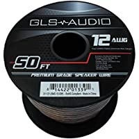 GLS Audio Premium 12 Gauge 50 Feet Speaker Wire - True 12AWG Speaker Cable 50ft Clear Jacket - High Quality 50 Spool Roll 12G 12/2 Bulk