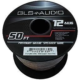 GLS Audio Premium 12 Gauge 50 Feet Speaker Wire - True 12AWG Speaker Cable 50ft Clear Jacket - High Quality 50\' Spool Roll 12G 12/2 Bulk