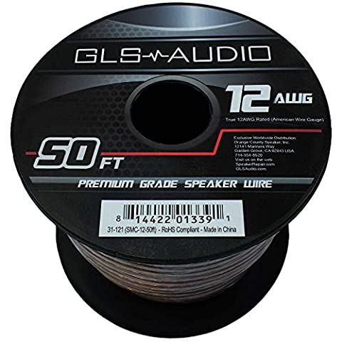 GLS Audio Premium 12 Gauge 50 Feet Speaker Wire - True 12AWG Speaker Cable 50ft Clear Jacket - High Quality 50' Spool Roll 12G 12/2 - Gls Audio