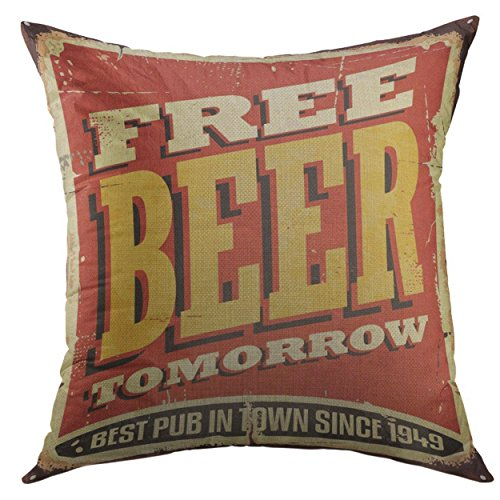 Old Tavern Beer - Mugod Pillow Case Retro Free Beer Tomorrow Vintage Tin Sign on Old Worn Red Pub or Tavern Alcohol Funny Square Throw Pillow Cover for Men Women Kids Cushion Cover 20x20 Inch
