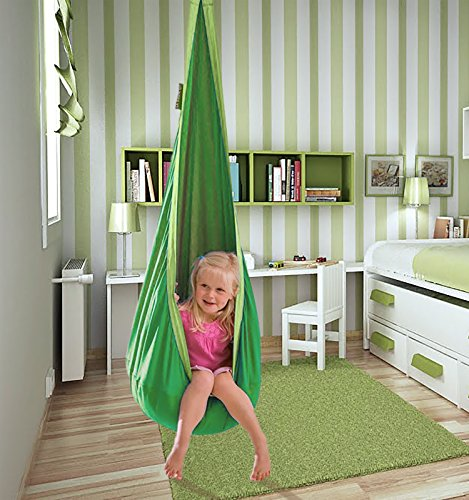 Decor Hut Hanging Pod Chair Indoor/Outdoor Hammock Plush Pillow Great Colors, Cozy Reading Spot! Green