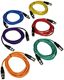 SEISMIC AUDIO - SAXLX-10 - 6 Pack of 10\' Multiple Color XLR Male to XLR Female Patch Cables - Balanced - 10 Foot Patch Cords