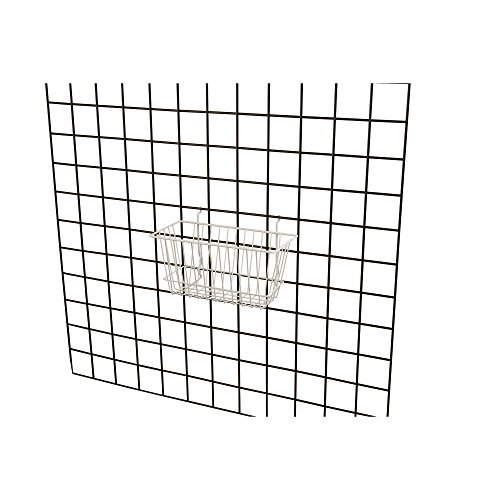 Econoco - White Multi-Fit Narrow Wire Basket for Slatwall, Pegboard or Gridwall (Set of 6) Metal Semi-Gloss Basket, White by Econoco (Image #3)