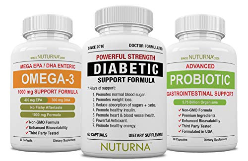 Diabetic Support Pack - Diabetes Multivitamin Formula Plus Omega 3 & Probiotic Supplement for Blood Sugar Control, Healthy Body Weight & Extra Energy Support Naturally