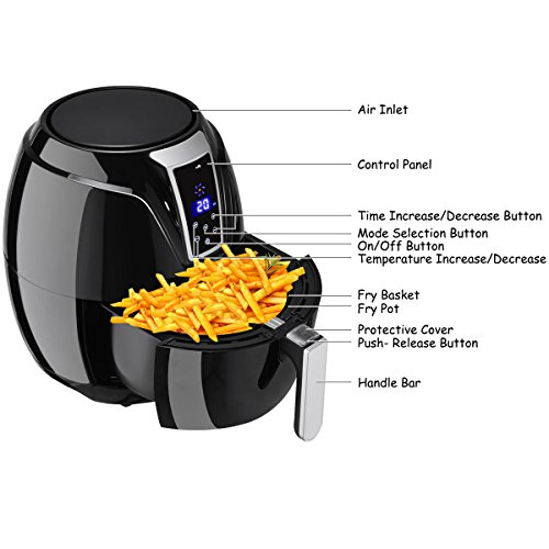 Costzon Electric Air Fryer, 3.4 Quart 1400W, Healthy Oil Free Cooking, 7-In-1 Electric Deep Cooker with LCD Touch, Temperature and Time Control, Dishwasher Safe, Detachable Basket Handle by Costzon (Image #1)