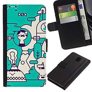 LASTONE PHONE CASE / Lujo Billetera de Cuero Caso del tirón Titular de la tarjeta Flip Carcasa Funda para Samsung Galaxy Note 3 III N9000 N9002 N9005 / Art Teal White Futuristic