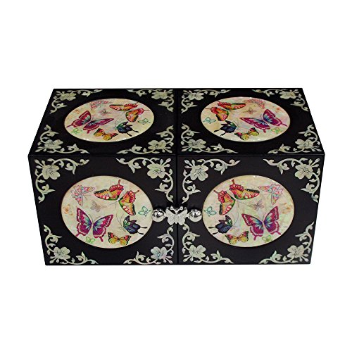Mother of Pearl Inlay Butterfly Flower Black Lacquer Wood Drawer Jewelry Trinket Keepsake Treasure Box