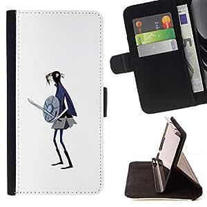 Momo Phone Case / Flip Funda de Cuero Case Cover - 3D Chica Warrior Espada Escudo Arte Dibujo - HTC One Mini 2 M8 MINI