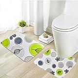 Menghao 2PCS Bathroom Rug Set Extra Soft Non-Slip Kids Memory foam Bath Mat29.5'' x17.7''and U-shaped17.7''x17.7''(Flower)