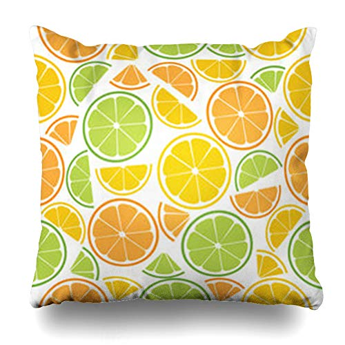 - Hitime Throw Pillow Cover Lime Orange Piece Slices Citrus Rings Pattern Half Lot Food Drink Yellow Beverages Bright Decorative Pillowcase Square Size 20 x 20 Inches Home Cushion Cases