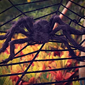 OTBBA Halloween Decorations, Giant Spider Decorations and 12FT Spider Web Decorations Creepy Decor for Halloween Outdoor…
