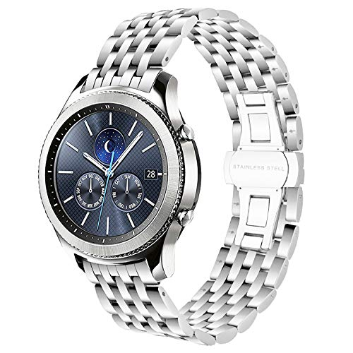 Gear S3 Classic/Frontier Bands, iWonow 22mm Stainless Steel Watch Band Zero Gap Replacement Strap for Samsung Gear S3 Classic/Frontier, Moto 360 2 46mm, Vector Luna/Meridian