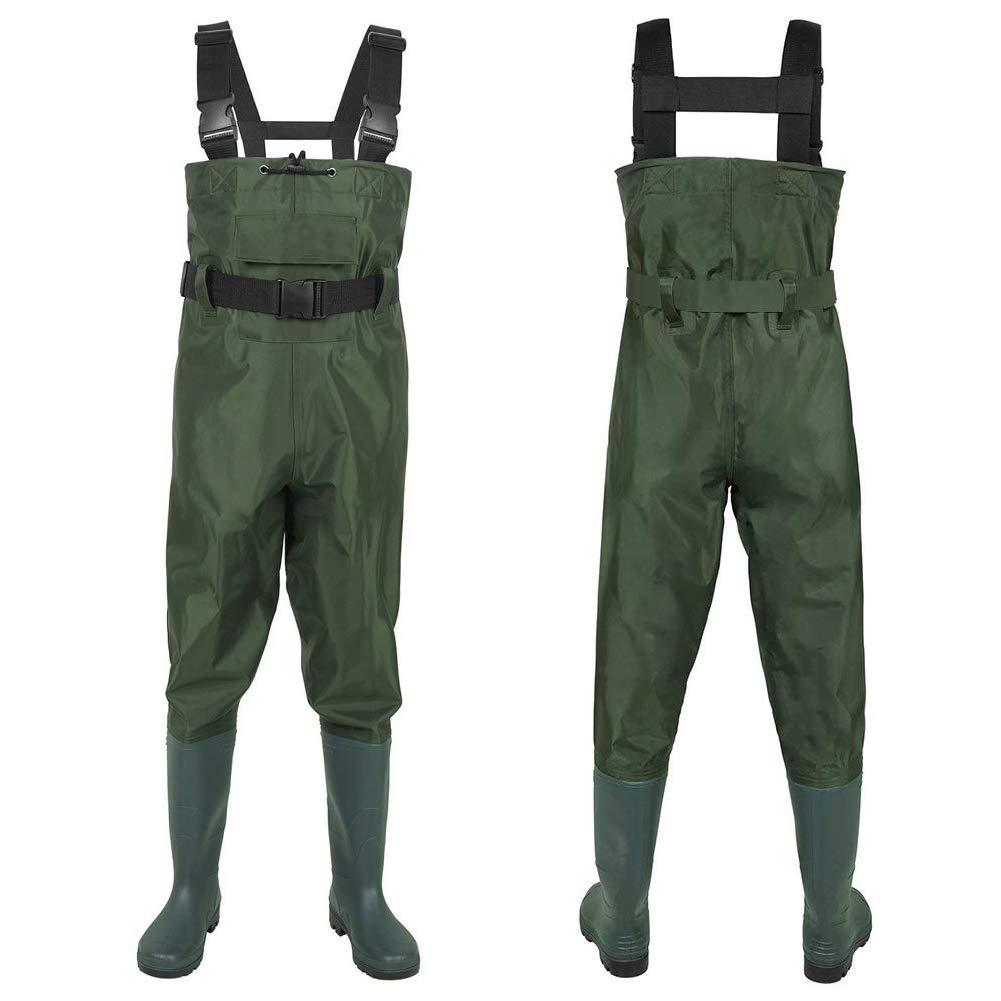 GLMHRNNA Hunting Waders,Waders for Men with Boots Fishing Waders Hip Waders Waterproof Insulated Breathable Keep Warm 2-Ply Nylon PVC for Men and Women Green and Camo