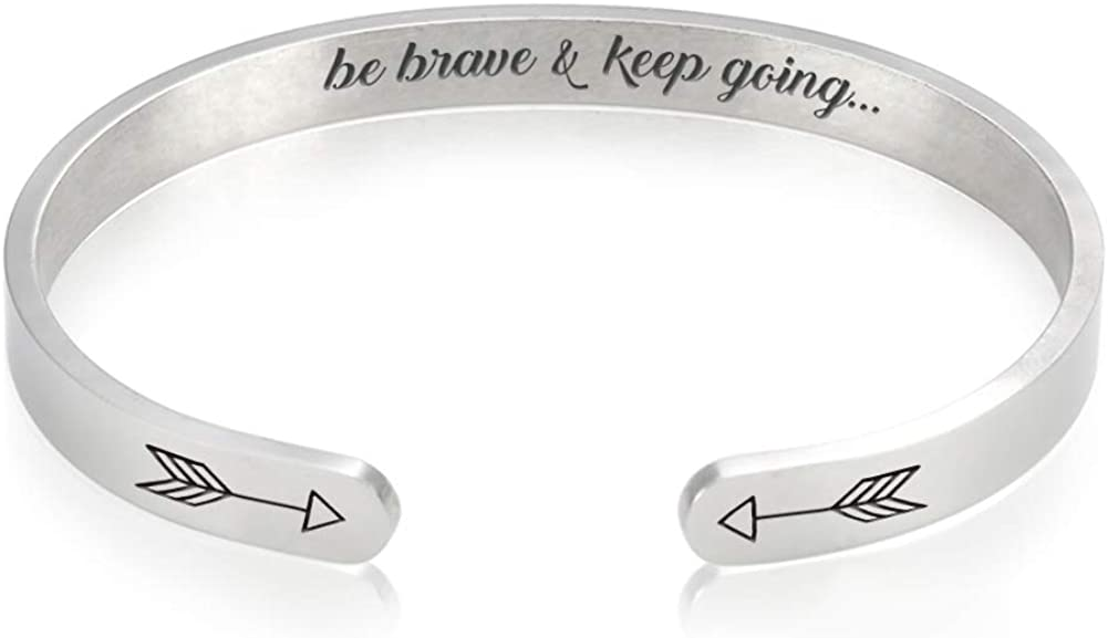 Rose Gold Keep Fucking Going Bangle Bracelets Stainless Steel Personalized Mantra Inspirational Quote Motivational Encouragement Cuff Bangle Gifts for for Women Teens Girls