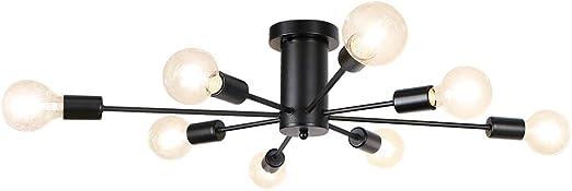 LynPon Sputnik Lustre Plafonnier Moderne 8 Lumi/ères Noir Industriel Vintage /Éclairage de Plafond Luminaire Suspension Lampe pour Chambre Salon Cuisine Loft Couloir Salle /À Manger Bar