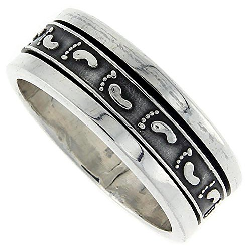 Sterling Silver Mens Spinner Ring Footprints Pattern Embossed Handmade 3/8 inch wide, size 9 ()