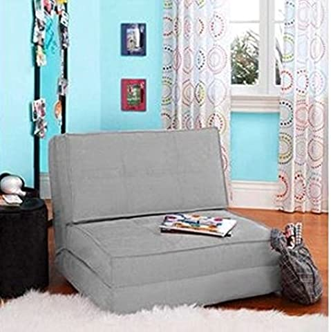 Flip Chair Convertible Sleeper Dorm Bed Couch Lounger Sofa, Gray