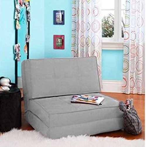 Flip Chair Convertible Sleeper Dorm Bed Couch Lounger Sofa Suede Material, Gray