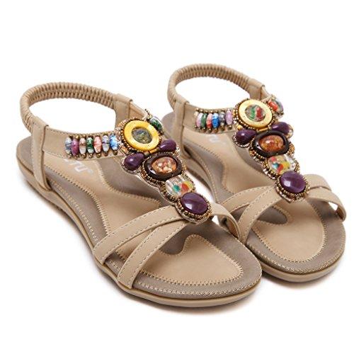 Bdawin Mujer T-Correa Sandalias Planas Bohemia Punta Abierta Elástico Correa de Tobillo Verano Playa Zapatos Albaricoque