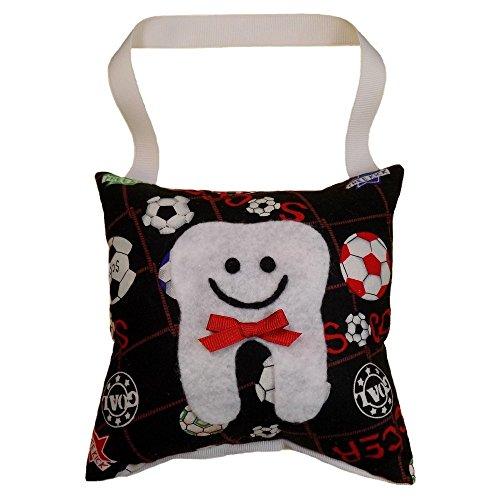 - Tooth Fairy Pillow Keepsake, Boy's Soccer Ball, Girl's Soccer Ball Design Print - Blue