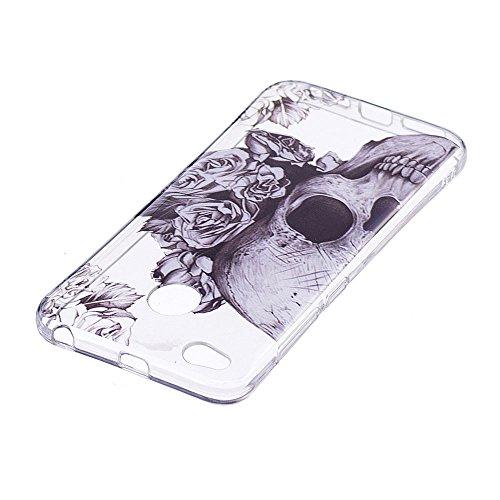 Funda Xiaomi Redmi 4X,Carcasas Xiaomi Redmi 4X Gel TPU Silicona Flexible Transparente Ultra Delgado Ligero Goma Case Cover Caja Suave Gel Shock Absorción Anti Rasguños Anti Choque Bumper Protectora Fu Cráneo