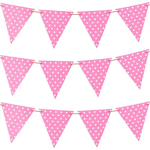 Joewyle Party Decorating Accessory Flag Banners Pink, 115 inches -