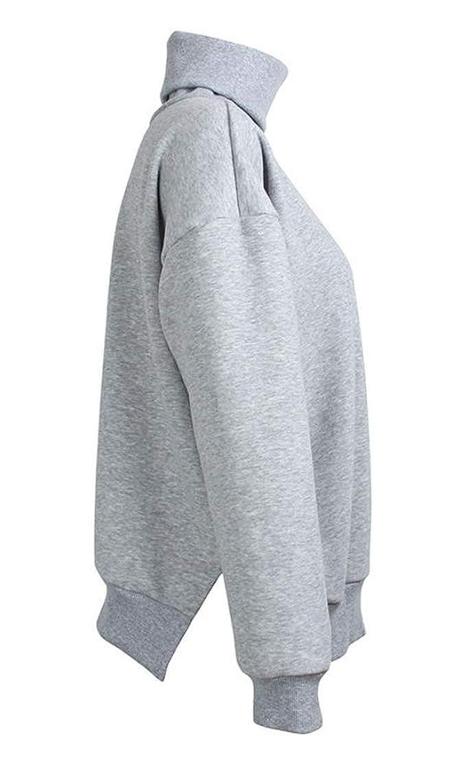 Lutratocro Women Casual Fleece Thicken Loose Cowl Neck Tops Long Sleeve Solid Sweatshirts