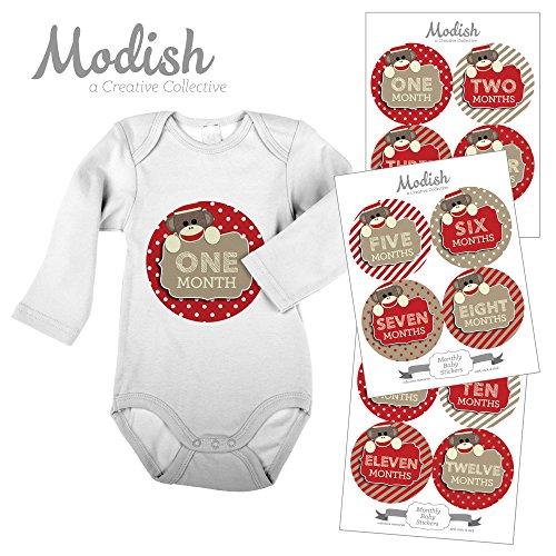 Monkeys Peel (12 Monthly Baby Stickers, Sock Monkey, Red, Gender Neutral, Boy, Girl, Baby Belly Stickers, Baby Month Stickers, First Year Stickers Months 1-12)
