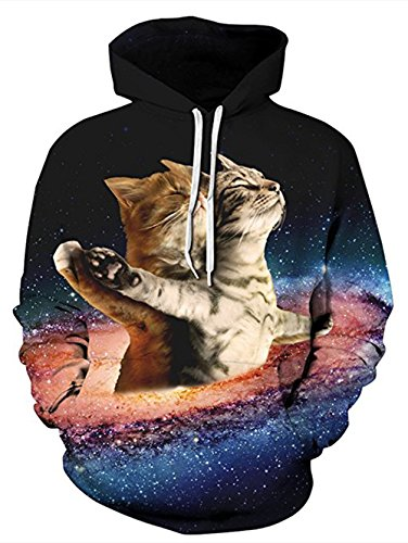 RAISEVERN Unisex Galaxy Space Cat Titanic Print Digital Graphic Pullover Novetly Sweatshirt Hoodie Hooded for Mens Womens ()