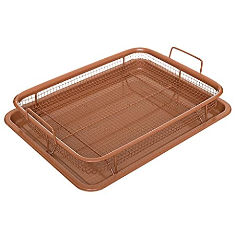 Multi-Purpose Crisper Basket & Tray for Oven, Stovetop, Grill, Works as Air Fryer and Griddle, Excellent for Frozen Foods, Copper Colored, by California Home (Crisper Trays)