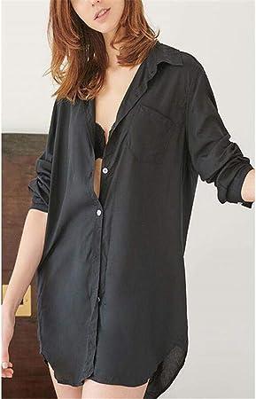 ZSDGY Camisa Sexy Camisón/Pijamas de Temperamento Fino de Manga Larga para Mujer/Falda Corta Color sólido Pijamas de luz C-M: Amazon.es: Hogar