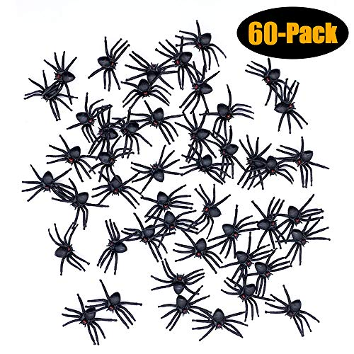 WUQID Spider Toy,Realistic Plastic Spiders Creepy Small Size Funny Halloween Decorations Prank Props for Halloween/Office/Theme Party(60 Pack)