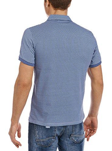 oodji Ultra Hombre Polo Estampado Gráfico Azul (7510G)