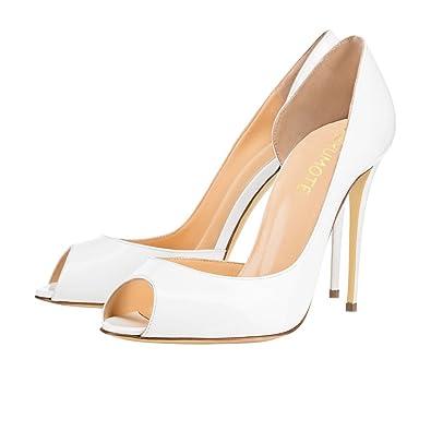 a9ca2de7d5a MERUMOTE Women s J-020 Sexy Peep Toe Pure Color High Heels Classic Pumps  For Party