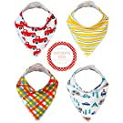Kaydee Baby Teething Bandana Drool and Dribble Bibs with Adjustable Snaps for Boys and for Girls (Trucks) Set of 4 with Gift Bag