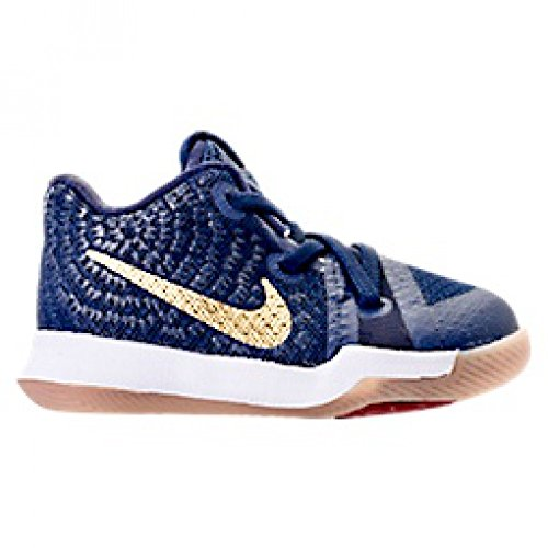 Nike Kyrie 3 Obsidian Toddler Infant Boys Shoe Obsidian/Summit White/Metallic Gold (6C)
