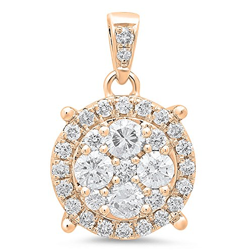 - Dazzlingrock Collection 0.95 Carat (ctw) 14K Round Cut White Diamond Ladies Circle Pendant 1 CT (Silver Chain Included), Rose Gold