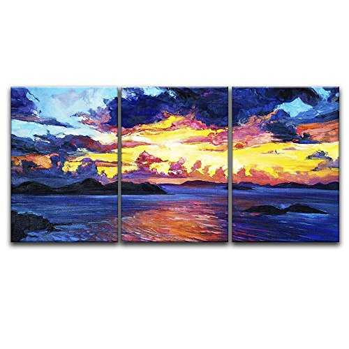 3 Panel Oil Painting Style Colorful Seascape x 3 Panels