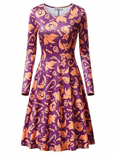Women Halloween Outfits,KIRA Women's Slim Fit Round Neckline Flared Fanshion Dress 17049-6 X-Large