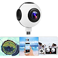 【720°】KOCASO Dual Lens Real-Time HD 1080P VR Panorama Camera. Dual Built-In 360° Fisheye Spherical Lenses, Night Vision 2048x1024 Recording, YouTube/FB Live, Time-Relapse Recording- Android - White