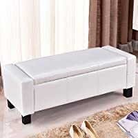 Chic Modern White Faux Leather Storage Bench Entryway Seat Hinged Furniture 43''(L) ×15.75'' (W)×15.75''(H)