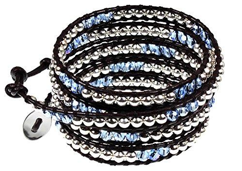 BSJ Bohemian Blue and Sparkling Silvertone Bead Brown Leather 5x (Sparkling Beaded Bracelet)