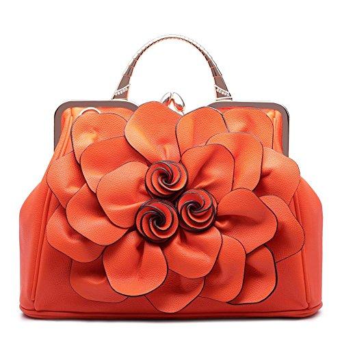 SUNROLAN Women's Evening Clutches Handbags Formal Party Wallets Wedding Purses Wristlets Ethnic Totes Satchel (Orange)