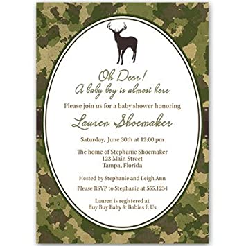 Baby Shower Invitations, Boy, Camo, Camouflage, Camoflauge, Hunting, Deer,