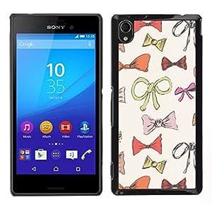 // PHONE CASE GIFT // Duro Estuche protector PC Cáscara Plástico Carcasa Funda Hard Protective Case for Sony Xperia M4 Aqua / bowtie bow pattern fashion design /
