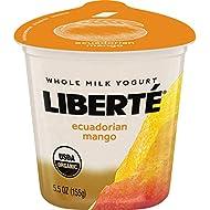 Liberte Organic Yogurt, Ecuadorian Mango Whole Milk Yogurt, 5.5 oz Cup