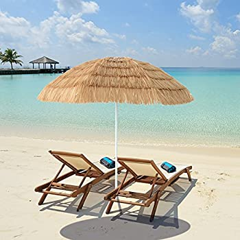 Delightful Caymus 7ft Hula Thatched Tiki Umbrella Hawaiian Style Beach Patio Umbrella  Natural Color 8 Ribs