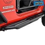 EAG Side Steps Armor for 07-17 Jeep Wrangler JK 2 Door Rock Sliders Nerf Bars Running Board Rail Step