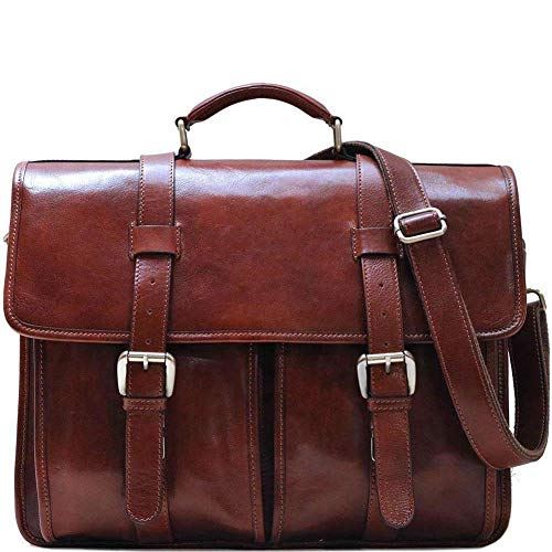 Floto Firenze Buckle Strap 2 Gusset Leather Briefcase in Brown