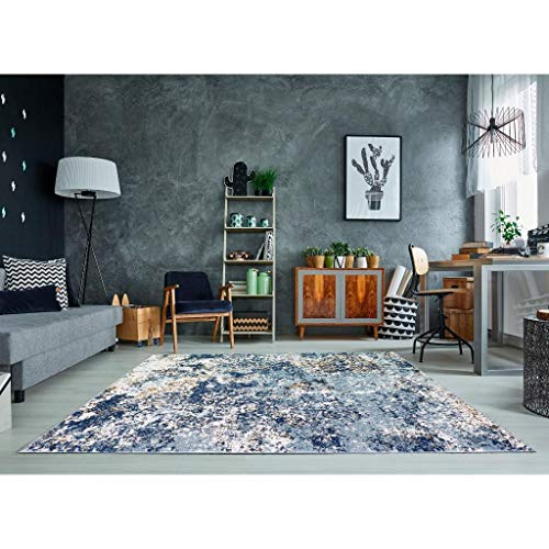 Persian Rugs 6490 Blue 8 x 11 Abstract Modern Area Rug